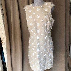 Michael Kors khaki linen embroidered flowers 12